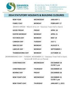 2014 STAT HOLIDAYS AND BUILDING CLOSURES